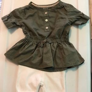 Other - Olive and White Baby Outfit